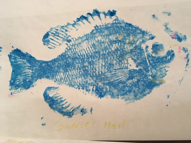 As always we bring art into our outdoor programs. This year students made fish prints!